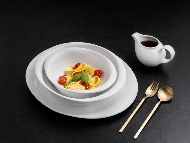 pratos com comida, coleção opera, louça restaurante, louça hotelaria, louça moderna, pratos modernos, pratos de porcelana, serviço louça, serviço pratos