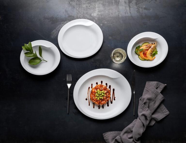 pratos com comida, coleção boheme, louça restaurante, louça hotelaria, pratos modernos, pratos de porcelana, serviço louça, serviço pratos