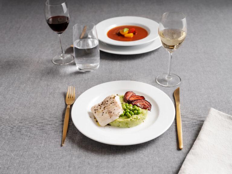 pratos com comida, coleção oceanus, louça restaurante, louça hotelaria, pratos de porcelana, serviço louça, serviço pratos, porcelana profissional