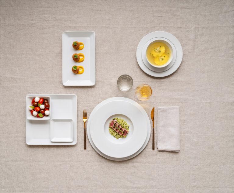 pratos com comida, coleção Raio, louça restaurante, louça hotelaria, pratos de porcelana, serviço louça, serviço pratos, porcelana profissional, louça banqueting, louça catering
