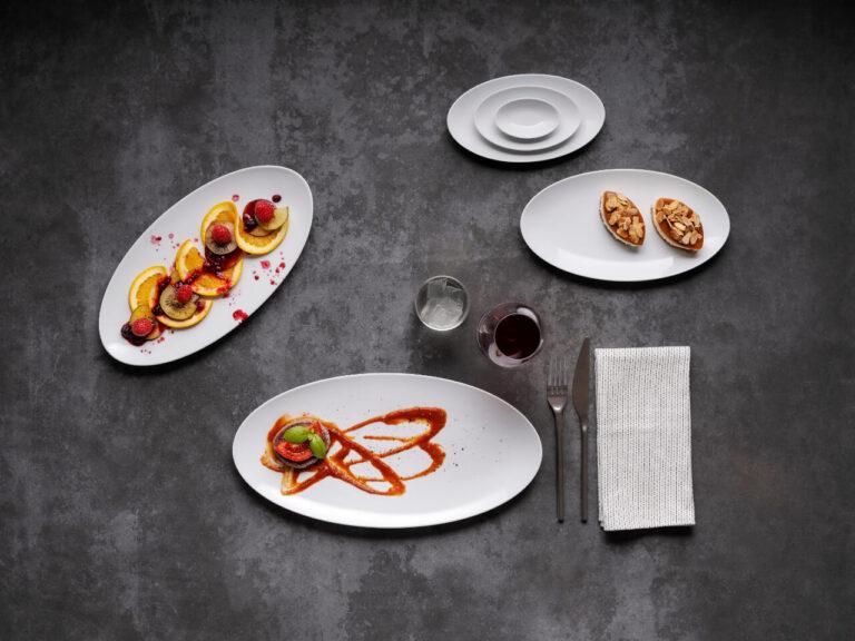 pratos com comida, coleção Saturno Eliptico, louça restaurante, louça hotelaria, pratos de porcelana, serviço louça, serviço pratos, porcelana profissional, porcelana de hotel, fine dining, pratos modernos, pratos requintados, serviço de louça intemporal, pratos para empratamento, empratamento