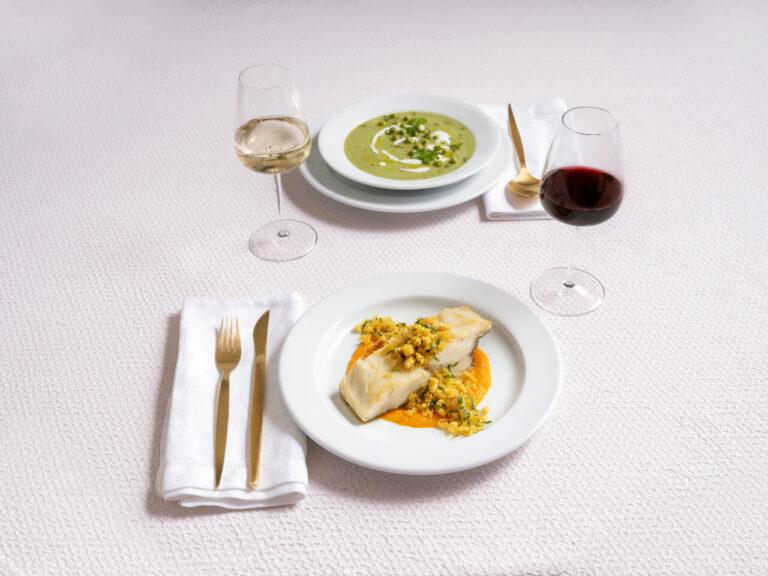 pratos com comida, coleção Marina, louça restaurante, louça hotelaria, pratos de porcelana, serviço louça, serviço pratos, porcelana profissional