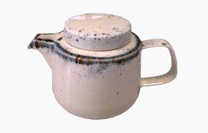 Tetera 550ml Flirty. Tetera de porcelana. Tetera larga. Tetera rosa con manchas azules (aplicación de esmaltes reativos).