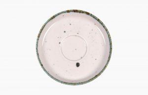 Platillo 17cm Flirty. Platillo de porcelana. Platillo para taza de café, o taza de té. Platillo rosa con manchas azules (aplicación de esmaltes reativos).