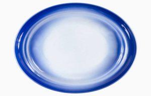 Prato Oval 32X24Cm Agma Marino. Prato de refeição azul degradê. Prato de servir. Travessa.